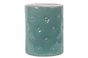 Prestigious Glossy Ceramic Garden Stool Light Blue