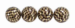 Preston Golden Glow Mosaic Decoration Balls Brand Benzara