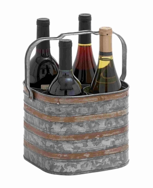 Preston Perfectly Galvanized Aesthetic Bottle Holder Brand Benzara