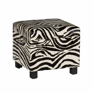 Pretty Faux Leather Zebra Print Storage Stool by Southern Enterprises