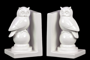 Pretty Immaculate Ceramic Polished Owl Bookends by Urban Trends Collection