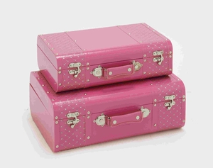 Pretty Pink Color Set of Two Beautiful Vinyl Boxes Brand Benzara