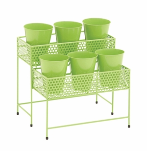 Pretty Styled Metal 2 Tier Plant Stand Green - 28941 by Benzara