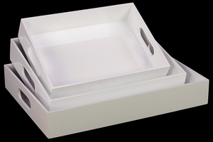 Pretty White Set of Three White Wooden Trays by Urban Trends Collection