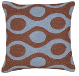 "Priceless Circles Blue Brown Hooked Pillow 16x16"" by 123 Creations"