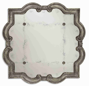Prisca Distressed Mirror with Four Matching Rosettes Brand Uttermost