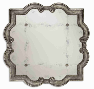 Prisca Distressed Small Mirror with Four Matching Rosettes Brand Uttermost