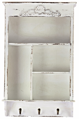 Pristine White Traditional Shelf with Smart Metal Hooks