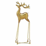 "Proud Metal Gold Reindeer w/ Long Legs 34""H, 11""W by Woodland Import"