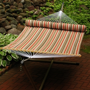 Pumpkin, Brown, and Tan Stripe / Tan solid, 13' Reversible Quilted Hammock with Matching Pillow by Alogma