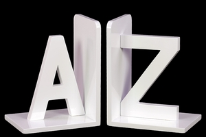 Pure White Dazzling AZ Stylish Wooden Bookend by Urban Trends Collection