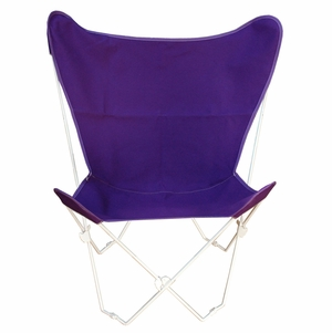 Purple Cotton Duck Fabric Butterfly Chair and Cover Combination with Black Frame by Alogma
