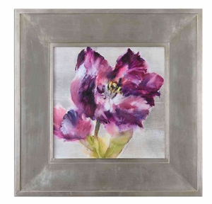 Purple Flourish Floral Art with Silver Leaf Frame Brand Uttermost