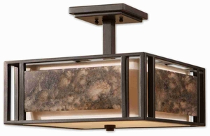 Quarry 3 Light Semi Flush Mount With Marble and Ivory Brand Uttermost
