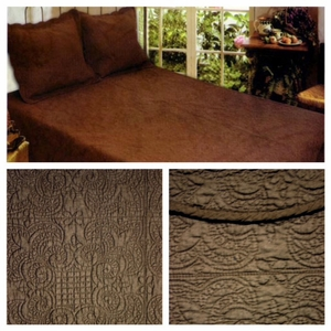 Queen Size 100% Cotton Filled Harmonious Mist Quilt in Chocolate by American Hometex