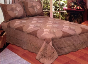 Queen Size 100% Cotton Filled Unchained Melody Quilt in Chocolate by American Hometex