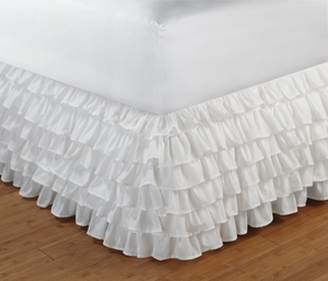 Queen Size Bedskirt, Multi Ruffle, White, 60X80X14 Inch Brand Greenland Home Fashions