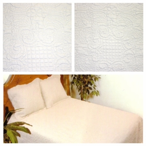 Queen Size Harmonious Mist Cotton Filled Quilt in White by American Hometex