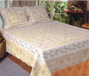 Queen Sized 100% Cotton Filled Monica Quilt in White and Beige Color by American Hometex