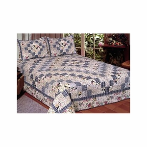 Queen Sized Romantic Garden Quilt with 100% Cotton Filling by American Hometex