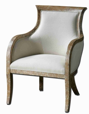 Quintus Linen Armchair In Almond Stained Mahogany Brand Uttermost