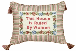 Quoted House Ruled by Women Petit-Point Saying Pillow by 123 Creations