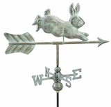 Rabbit Garden Weathervane - Blue Verde Copper w/Garden Pole by Good Directions