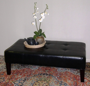 Radiant Black Faux Leather Authentic Coffee Table by 4D Concepts
