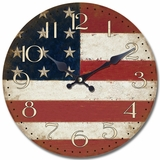 Radiant Circular Wooden Wall Clock with American Flag Print by Yosemite Home Decor