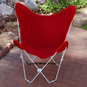 Radiant Red Cotton Fabric Foldable Butterfly Chair by Alogma
