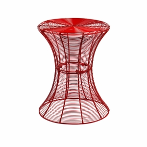 Radiant Red Metal Crafted Accent Table by Southern Enterprises