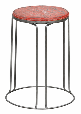 Radiant Red Metal Framed Exotic Stool