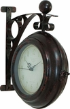 "Railway Station Train Metal Clock Double Sided 12"" H Brand Woodland"
