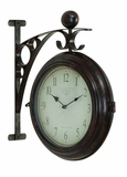 Railway Station Train Metal Clock, Double Sided Railway Clock Brand Woodland