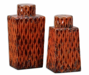 Raisa Style Containers In Crackled Burnt Orange Finish Brand Uttermost