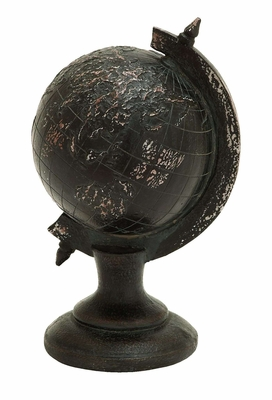 Raised World Globe Decor With Aged Polyresin Cast Brand Woodland