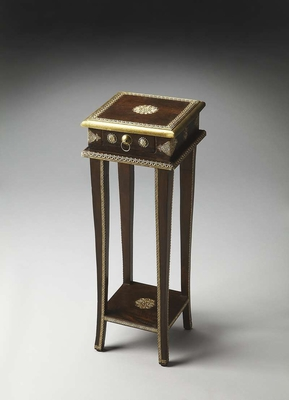 """Rajan Brass Inlay Plant Stand 10.75""""W by Butler Specialty"""