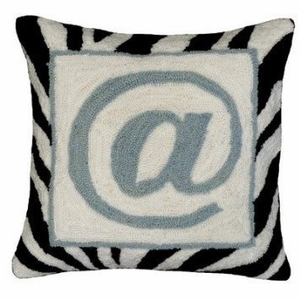 "Rapidly Changing @ Sign Hooked Pillow 16x16"" by 123 Creations"