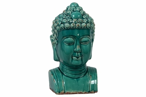 Rare and Unique with Soothing Blue Color Buddha Bust by Urban Trends Collection
