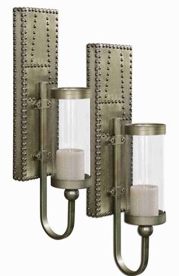 Rashane Wall Sconce Set With Silver Champagne Aluminum Brand Uttermost