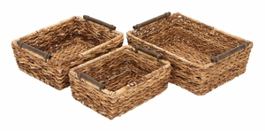 Rattan Basket Set/3 Hand Woven Dining Area Accessory With Great Utility Brand Woodland