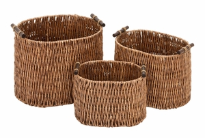 Rattan Basket Set/3  Unique Home Accents - 52619 by Benzara