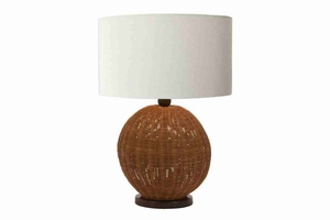Rattan Table Lamp, Spherical, 22 Inch Height Brand Woodland