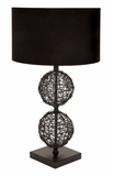 "Rattan Table Lamp With Black Fabric Shade 30"" Tall Brand Woodland"