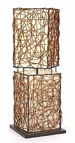 "Rattan Table Lamps With Woven Wood Shade 26""H Brand Woodland"