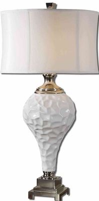 Raymer White Table Lamp with Nickel Plated Detailing Brand Uttermost