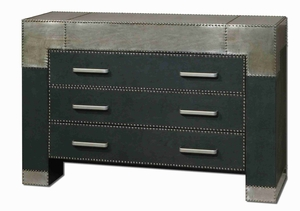 Razi Metal Drawer Chest With Faux Leather Finish Brand Uttermost