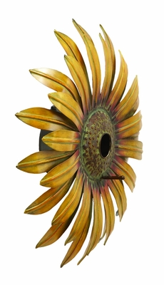 "Realistic and Captivating Sunflower Bird House 16""D by Benzara"