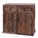 Reclaimed Wooden Cabinet with Metallic Ring Handles Brand Woodland