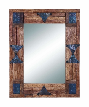 Reclaimed Wooden Mirror with Metallic Trinkets on Border Brand Woodland